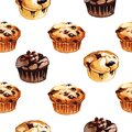 Watercolor hand drawn illustration seamless print with different flavor muffins isolated on white