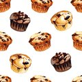 Watercolor hand drawn illustration seamless ramdom print with different flavor muffins isolated on white