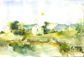 Watercolor hand drawn painting china house Royalty Free Stock Photo