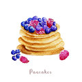 Watercolor hand drawn pancakes. dessert illustration on white background