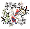 Watercolor hand drawn pattern with tropical summer flowers of and exotic birds