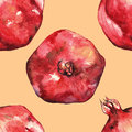 Watercolor hand drawn pomegranate seamless pattern background