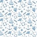 Watercolor hand drawn sea nautical seamless pattern