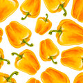 Watercolor hand drawn seamless pattern with yellow bell pepper. Royalty Free Stock Photo