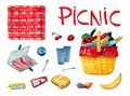 Watercolor hand drawn set including different food for breakfast on picnic on white background.