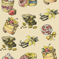 Watercolor hand drawn sweet picture of sweets and chocolate Royalty Free Stock Photo