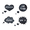 Watercolor hand drawn talk bubbles silhouettes Royalty Free Stock Photo