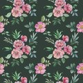stock image of  Seamless watercolor pattern of flowers and leaves. Flower arrangement for design.