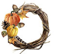 Watercolor hand painted autumn wreath of twig. Wood wreath with pumpkin, pine cone, fall leaves, feather and acorn