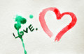 Watercolor hand painted background with heart. Stock Photography