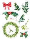 Watercolor hand painted Christmas set with evergreen tree branches, mistletoe wraeth, holly, red berries, green leaves.