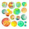 Watercolor hand painted circle shape design elements. Hand drawn green, turquoise and yellow watercolor circles isolated