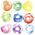 Watercolor hand painted circles Stock Photos