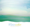 Watercolor hand painted landscape background. Royalty Free Stock Photo