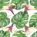Watercolor hand painted nature tropical plant seamless pattern with green palm leaves and pink blossom honeysuckle flowers Royalty Free Stock Photo