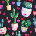 Watercolor hand painted seamless pattern with different cactuses in flower pots, hearts and lips on black background. Romantic