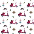 Watercolor hand painted seamless pattern with purple vintage scooter. Royalty Free Stock Photo