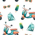 Watercolor hand painted seamless pattern with turquoise vintage scooter, backpack, ice cream and orange sunglasses on white backgr Royalty Free Stock Photo