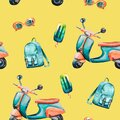 Watercolor hand painted seamless pattern with vintage scooter, backpack, ice cream and orange sunglasses on yellow background. Royalty Free Stock Photo