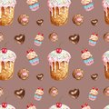 Watercolor sweets and desserts seamless pattern. Hand painted birthday treats- cake, cupcake, cookie, chocolate candy, isolated