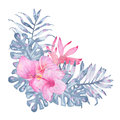 Watercolor hand painted tropical flower bouquet pink calla heliconia hibiscus frangipani leaves of indigo palm monstera