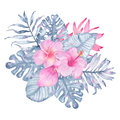 Watercolor hand painted tropical flower bouquet pink calla hibiscus frangipani and leaves of indigo palm monstera