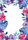 Mano marco rosa y violeta flores azul follaje y plantas