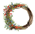 Watercolor hand painted winter wreath of twig. Wood wreath with red and blue winter berries and juniper. Natural