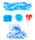 Watercolor hand painting textures.Blue Stains,spot drops,splashes set. Royalty Free Stock Photo