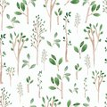 Watercolor Hand sketched green seamless pattern .Hand painted trees leaves,branches,petal decor element.For background,backdrop,
