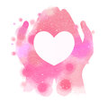 Watercolor hands giving white heart. Digital art painting