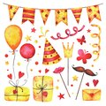 Watercolor Happy birthday party clip art set