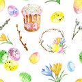 Watercolor Happy easter seamless pattern. Colorful repeat background with colored eggs, flowers, wreath and sweet glazed cake