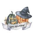 Watercolor Happy Halloween card with pumpkin. Hand painted carved faces pumpkins with candle and witch hat. Halloween