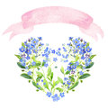 Watercolor heart. Forget-me-nots and ribbon