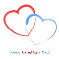 Watercolor heart hearts two hand drawn hearts of red and blue color eps Stock Photo