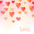 Watercolor hearts background for valantine day card Stock Images