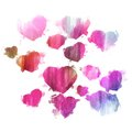 Watercolor hearts - Pink and purple herts set - Watercolor hearts backdrop - Watercolor background