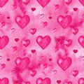 Watercolor hearts seamless background. Pink watercolor heart pattern. Colorful watercolor romantic texture. Royalty Free Stock Photo