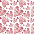 Watercolor hearts seamless background. Pink watercolor heart pattern. Colorful watercolor romantic texture