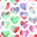 Watercolor hearts seamless pattern on white