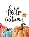 Watercolor hello autumn lettering with pumpkin and leaf. Hand painted orange and blue vegetables isolated on white background. Aut