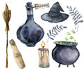 Watercolor helloween magic set. Hand painted bottle of poison, cauldron with potion, broom, candle, finger, witch hat Royalty Free Stock Photo