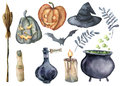 Watercolor helloween magic set. Hand painted bottle of poison, cauldron with potion, broom, candle, finger, witch hat