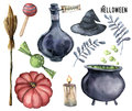 Watercolor helloween set. Hand painted bottle of poison, cauldron with potion, broom, candle, candies, pumpkin, witch