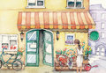 Watercolor High Definition Illustration: Street Flower Shop with Salesgirl. Royalty Free Stock Photo