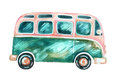 Watercolor hippie camper van, isolated on white background.