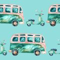 Watercolor hippie camper van and scooter