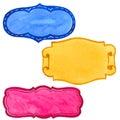 Watercolor holiday colorful ribbon bow greeting illustration.