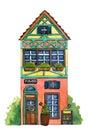 Watercolor house `Flowers Shop`.